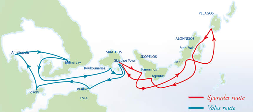 The Sporades Flotilla itineraries